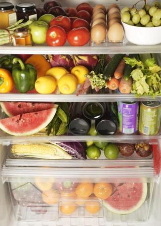 Refrigerator Filled with Fruits and Vegetables